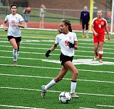 SPOTLIGHT FILE PHOTO: JAKE MCNEAL - Sophomore defender Lauren Whisenhunt (5) and junior forward Mackenzie Ela are all-Cowapa Leaguers can lead Indians girls' soccer's quest for a Class 4A state championship repeat and its third in four years.
