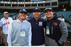 COURTESY: BEN VANHOUTEN - Former Oregon State baseball stars (from left) Kevin Gunderson, Jacoby Ellsbury and Andy Jenkins get together during batting practice at Safeco Field, where Ellsbury helped lead the New York Yankees in a series against the Seattle Mariners.