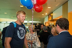 OUTLOOK PHOTO: JOSH KULLA - Gresham native and U.S. Olympian Sam Crouser is greeted Tuesday at Portland International Airport after arriving home from the Rio Games.
