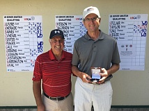 PHOTO COURTESY OF OGA - Gladstone's Denny Taylor (left) and Portland's Bob Harrington earned berths into the Sept. 17-22 U.S. Senior Amateur Championship during Monday's 18-hole qualifier at the OGA Course in Woodburn.