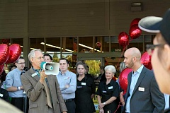 SPOKESMAN PHOTO: CLAIRE COLBY - Mayor Tim Knapp welcoming Wilsonville's new Safeway staff Aug. 24 at Safeway's Grand Opening.