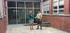 SUBMITTED PHOTO - Jonathan Gillespie (right) shows off the new courtyard he helped create at Westside Christian High School in Tigard in August 2015 for his Eagle Scout project.