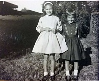 SUBMITTED PHOTO - Kimarie (from left) and Karrie Wilkie beam on the first day of school in 1962.