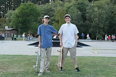 SPOKESMAN PHOTO: CLAIRE COLBY - T&E Skate Studio founders Ryan Shinn (left) and Jared Withrow (right) pulled out all of the stops at their first T&E event, Stake and Hang, Aug. 29 at Memorial Parks skatepark.