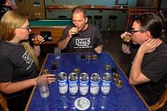 CONTRIBUTED PHOTO: CLEAN WATER SERVICES - Judges try some of the 40 beers for the third-annual Sustainable Water Challenge/Pure Water Brew competition held on Saturday morning at Raccoon Lodge on Beaverton-Hillsdale Highway. All the brewers had one ingredient in common: purified wastewater from Clean Water Services' Durham treatment facility in Tigard.