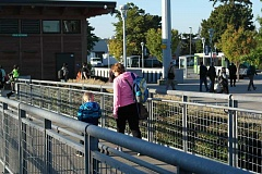 SPOKESMAN PHOTO: CLAIRE COLBY - Commuters arrive at Wilsonville Station at SMART Central Sept. 12 and make their way over to connection buses servicing Wilsonville and Salem.