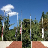 ESTACADA NEWS PHOTO: EMILY LINDSTRAND - Flags at the Estacada Veterans Memorial were at half staff on Sunday, Sept. 11.