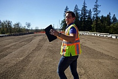 TIMES PHOTO: JAIME VALDEZ - Project manager Renus Kelfkens stands on ground leveled to make way for road construction in between Sherwood, Tualatin and Wilsonville.