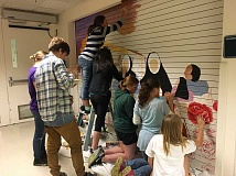 PHOTOS SUBMITTED BY KATHY MIER - St. Stephens Academy students paint a mural at Providence St. Vincent Medical Center.