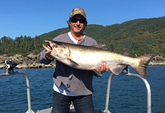 Mike Adrian, of Weaverville, CA, with a 24 pound Tillamook Bay Chinook caught Sept. 12.