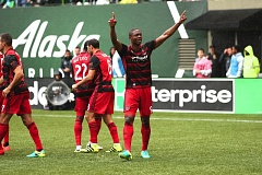 TRIBUNE PHOTO: JAIME VALDEZ - Fanendo Adi scored the Portland Timbers' go-ahead goal in the 53rd minute Saturday at Providence Park.