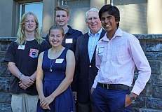 REVIEW PHOTO: JILLIAN DALEY - Local students participated in the World Affairs Seminar this year with the support of local Rotarians. From left, back row: Lakeridge High School senior Jeshua Corgan, Lakeridge senior Joel Saarinen and Rotarian Ted Ricks; and front row, Lake Oswego High School senior Savannah Grosse and Lakeridge sophomore Karthik Sreedhar.