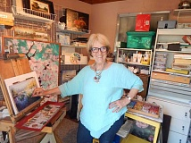 BARBARA SHERMAN - Jan Hardenburger, shown here in her home studio in Tigard, used to only paint in oil but now has branched out into pastels as well.
