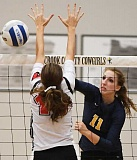 LON AUSTIN/CENTRAL OREGONIAN - Jennifer Roth goes up for one of her 19 kills Thursday afternoon against Corbett. The win moved the Cowgirls to 2-0 in Tri-Valley League play and 7-0 overall.