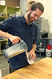 COURTESY: JOE MILLER - Joe Miller, founder of New Foods Market, whips up a batch of nut milk.