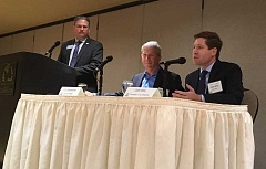 PAMPLIN MEDIA GROUP PHOTO: PETER WONG - Democratic incumbent U.S. Rep. Kurt Schrader (center) joined Republican challenger Colm Willis at a business-sponsored forum Sept. 19 at the Monarch Hotel in Clackamas. At left is the moderator, Mark Meek, who read written questions from the audience.