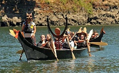 REVIEW PHOTO: VERN UYETAKE - Members of the Confederated Tribes of the Grand Ronde brought 'The Man from Kosh-huk-shix' to George Rogers Park by canoe in July 2015, part of the Lake Oswego-Tigard Water Partnership's effort to protect and preserve cultural resources along the project's 10-mile route.