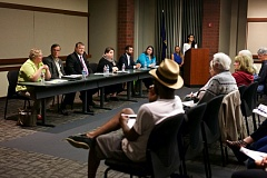 TIMES PHOTO: JAIME VALDEZ - From left, candidates Sonya Ambuehl, Paul Morrison, Robert Kellogg, Joelle Davis, Paul Southwick and Julie Parrish introduced themselves to members of the public in Tualatin at a Sept. 28 forum. At far right, Tualatin High School students Jordan Maddox and Allison Mo (right) moderated the event.