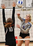 LON AUSTIN/CENTRAL OREGONIAN - Maddie Kussman goes up for a kill against Molalla on Thursday. The Cowgirls easily won the match as they amassed 41 kills to just seven for the Indians.