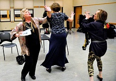 SPOKESMAN PHOTO: LESLIE PUGMIRE HOLE - The three leading ladies of The Cemetery Club (left to right: Zoe Niklas, Patricia Alston, Rhona Klein) danced about during rehearsals Sept. 30 during a drunken scene.