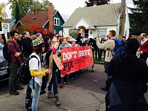 PORTLAND TRIBUNE: NICK BUDNICK - Protesters with Don't Shoot Portland marched Friday to Mayor Charlie Hales' home, calling for police reform.