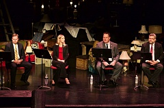 TIMES PHOTO: JAIME VALDEZ - From left, candidates Tom Anderson, Tristan Kira Irvin, Bret Lieuallen and Jason Snider fielded questions from the Tigard Chamber of Commerce onstage at Broadway Rose Theatre Co. Monday.