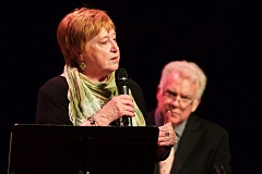TIMES PHOTO: JAIME VALDEZ - State Rep. Margaret Doherty, D-Tigard, speaks as forum moderator Dan Murphy (background) listens on Monday at Broadway Rose Theatre Co.