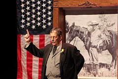 JENNIFFER GRANT/MADRAS PIONEER - Impersonator Derek Evans portrays President Teddy Roosevelt during a presentation for Madras High School students.