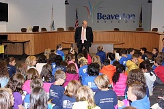 THE TIMES: MANDY FEDER-SAWYER - Beaverton Mayor Denny Doyle fields questions from second- and third-grade students.