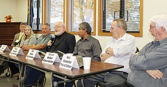 HOLLY M. GILL - From left, candidates at the Oct. 12 forum included Jim Crary, Brandie McNamee, Gary Walker, Royce Embanks, John Chavez, Warren Walker, and Bart Carpenter. Ballots for the Nov. 8 election were expected to be in the mail Oct. 19.