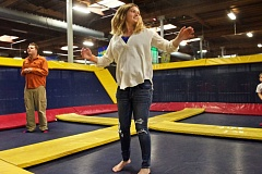 TIMES PHOTO BY JAIME VALDEZ - Katy Corcoran, 21, has fun during an Autism Speaks Jump With US outing hosted by Sky High Sports.