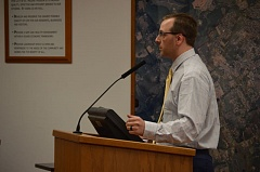 SPOTLIGHT PHOTO: NICOLE THILL - St. Helens City Finance Director Matt Brown speaks with the St. Helens City Council about the adjustment of sewer rates outside the city on Wednesday, Oct. 19. Seven business will see rate adjustments in Novemeber.