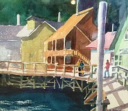 SUBMITTED PHOTO - Lake Oswego watercolorist Rudy Stevens, a beloved art teacher, is exhibiting his work at Johnstone Financial through Dec. 22. An artists reception will be held from 5-7 p.m. Oct. 28. This piece is titled Quirky House.