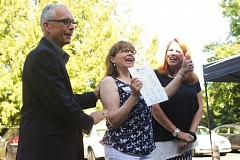 TIMES FILE PHOTO - From left, Tualatin Mayor Lou Ogden, Tualatin Chamber of Commerce Chief Executive Officer Linda Moholt and Chamber Treasurer Wendy Anderson celebrate the opening of the Chamber's new office in June.