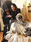 STAFF PHOTOS: VERN UYETAKE - Lavonne Holland, owner of Salon Lavonne, has a tradition of decorating her salon for Halloween. It takes her all day to adorn the shop to be spooky. The public is invited to visit the salon through Nov. 5 to view the displays.