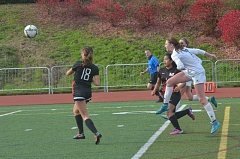 SPOKESMAN PHOTO: COREY BUCHANAN - Wilsonville girls soccer player Teagan McNamee scores a goal against Mountain View.