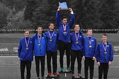 COURTESY PHOTO: JEFFREY KAWAGUCHI - The Valley Catholic boys cross country team took its third state championship in four years.