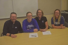SPOKESMAN PHOTO: COREY BUCHANAN - Wilsonville High senior Kaitlyn Howe (middle, left) recently signed her letter of intent to play golf for University of Nebraska at Kearney.
