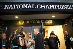 TRIBUNE FILE PHOTO: JAIME VALDEZ - Mark Helfrich is interviewed before the Oregon Ducks' appearance in the 2015 national championship game against Ohio State. Oregon fired Helfrich on Tuesday after a 4-8 season in 2016.