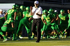 TRIBUNE FILE PHOTO - Coach Mark Helfrich is out as head coach at the University of Oregon.