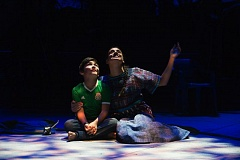 COURTESY: JENNY GRAHAM/OREGON SHAKESPEARE FESTIVAL - In 'Mojada: A Medea in Los Angeles,' Medea, played by Sabina Zuniga Varela, looks to the night sky with her son Acan, played by Jahnangel Jimenez.