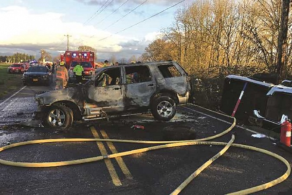 Two-car crash leads to fire