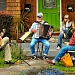 Woodstock musicians in concert from their porches