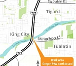 One lane along northbound Highway 99W closed for Tualatin River…