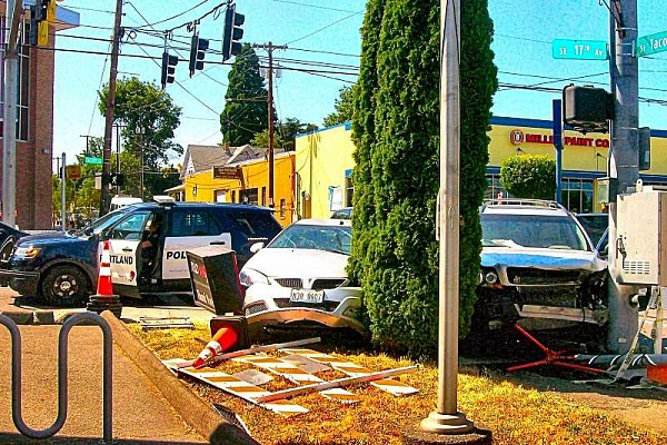 Suspended, uninsured driver crashes, snarls traffic, at 17th and Tacoma