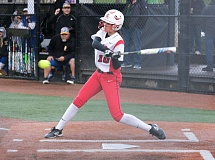 REVIEW/NEWS PHOTO: JIM BESEDA - Clackamas' Alyssa Daniell drew a leadoff walk in a two-run fifth inning in the Cavaliers 4-3 come-from-behind win Friday over Barlow.