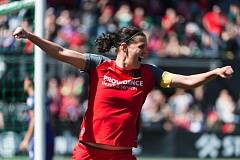 TRIBUNE PHOTO: CHRISTOPHER OERTELL - Forward Christine Sinclair celebrates after scoring in the second half Saturday afternoon as the Portland Thorns defeat the Orlando Pride 2-0 at Providence Park in the opening game of the 2017 National Women's Soccer League season.