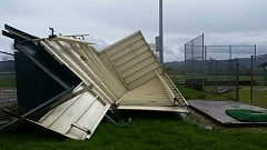 COURTESY PHOTO - The ball fields in Gastons Brown park took a beating during an early April windstorm, which caused dugouts to blow over.