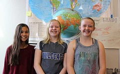 SPOKESMAN PHOTO: ANDREW KILSTROM - From left, Lola Kleiner, Ashley Sheirbon and Maddie Holly are in the midst of a fundraising campaign for Syrian refugees.