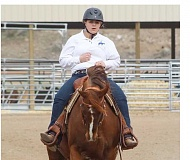 LAUREN NEUMANN/FOR THE PIONEER - At the second district meet held March 31 - April 2 at Rim Rock Arena, Janna Davis and her horse, Hazel, took first in the reining competition.